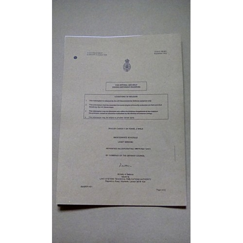 TRAILER CARGO BODY GENERAL PURPOSE 1.3/4 TON 2 WHEELED FV2409 MAINTENANCE SCHEDULE JS